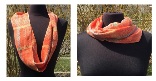 handwoven Coral Diamonds cowl