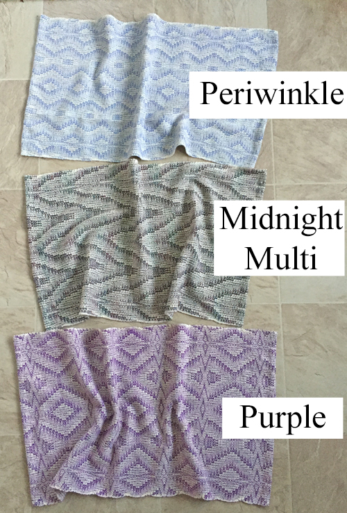 periwinkle, midnight multi, and purple towels