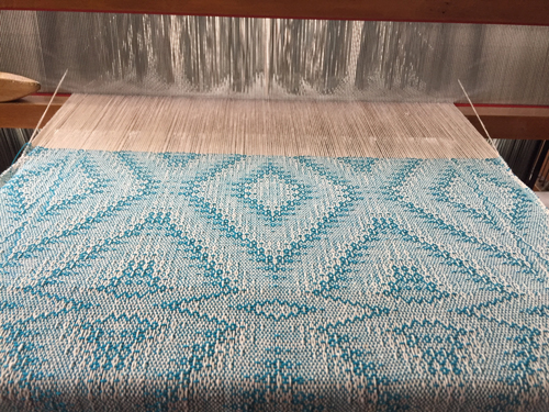 handwoven turquoise 'crackle' towel