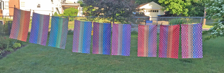9 handwoven Finding the Rainbow towels
