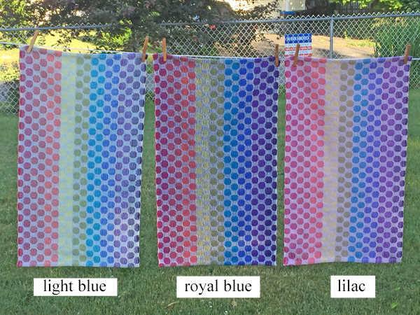 light blue, dark blue & lilac towels