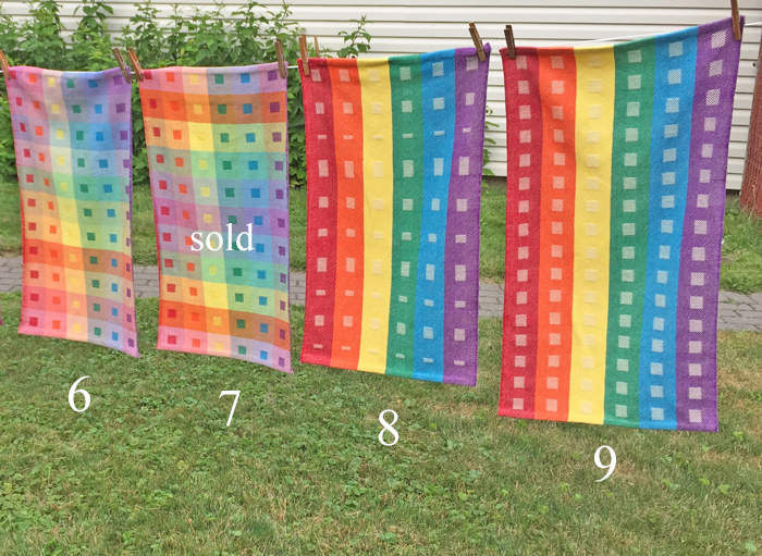 4 handwoven Still At Home Rainbow towels
