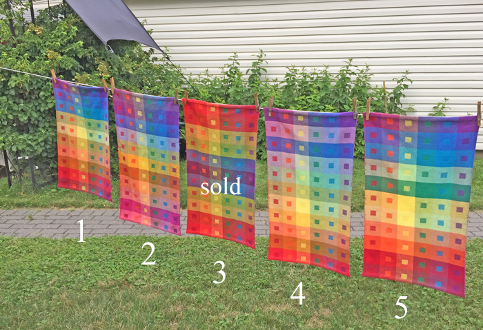 5 handwoven Still at Home Rainbow towels