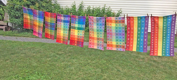 9 Still at Home rainbow handwoven towels