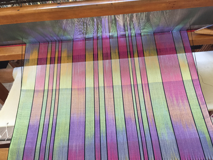 handpainted silk shawl on the loom