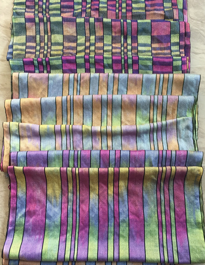 3 handwoven shawls made with paint 2 silk warps