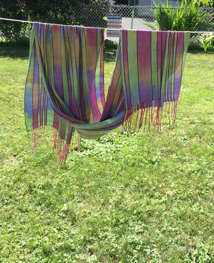 handwoven silk shawl, paint 2 warps, navy weft, back