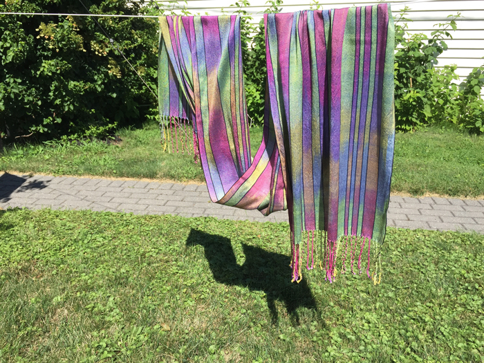 handwoven silk shawl, paint 2 warps, navy weft-front