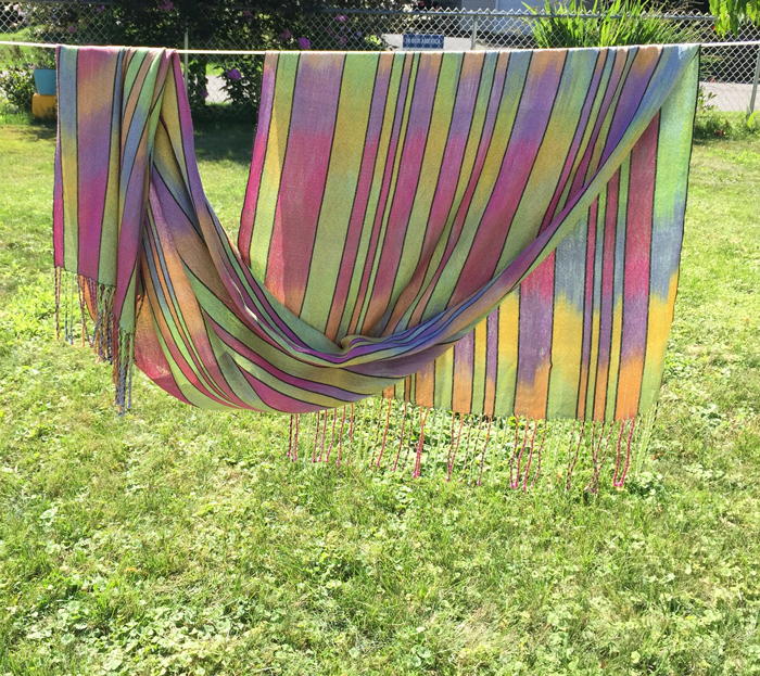 handwoven silk shawl, paint 2, sage weft, back