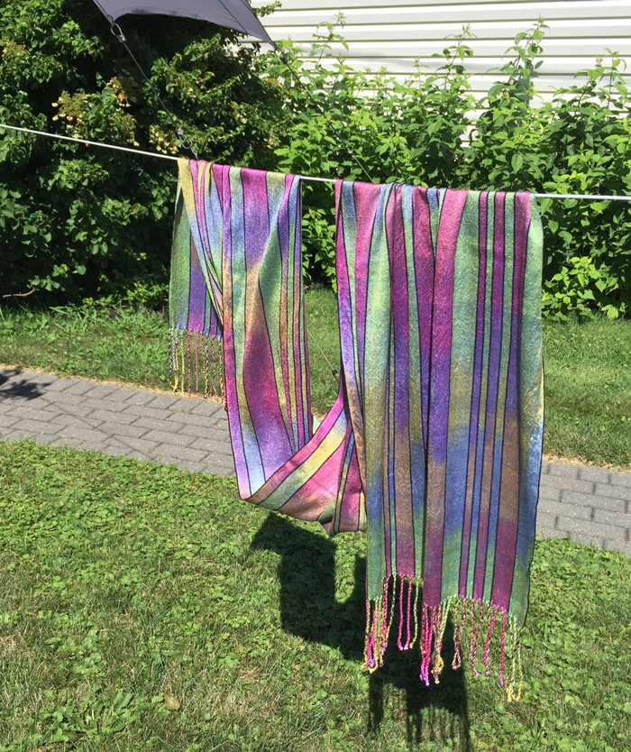 handwoven silk shawl, paint 2, sage weft, front