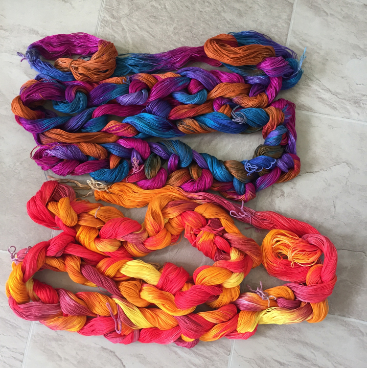 hand painted cotton yarn, sunrise-sunset