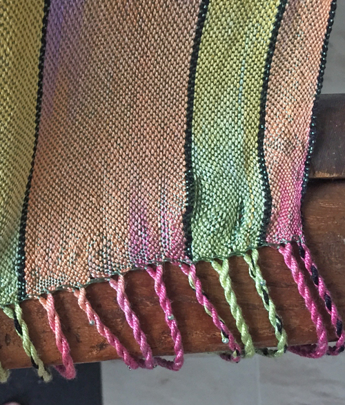 example of finger push in sage silk shawl