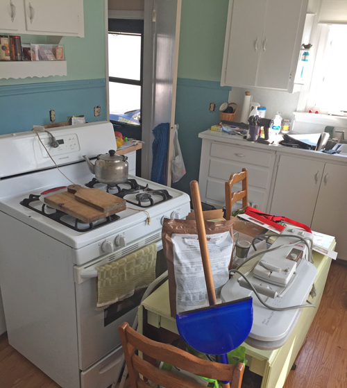 kitchen mess-prepared for painting