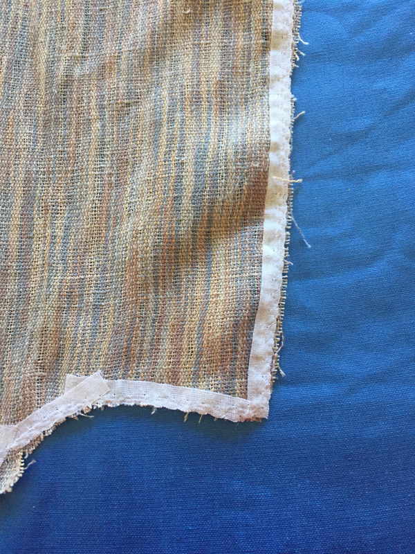 edge of fabric with fusible tape