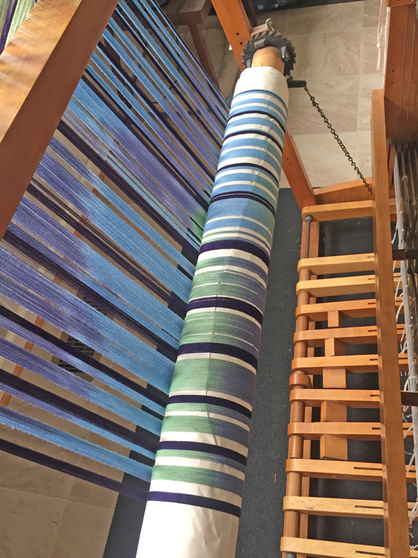 beaming handpainted blue & green warp