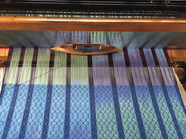 weaving my blues & greens warp