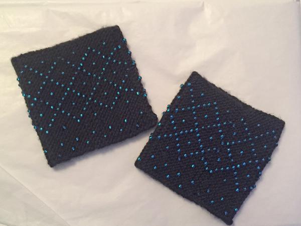 blue and black beaded wristlets