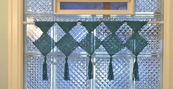 close up of pin loom valance