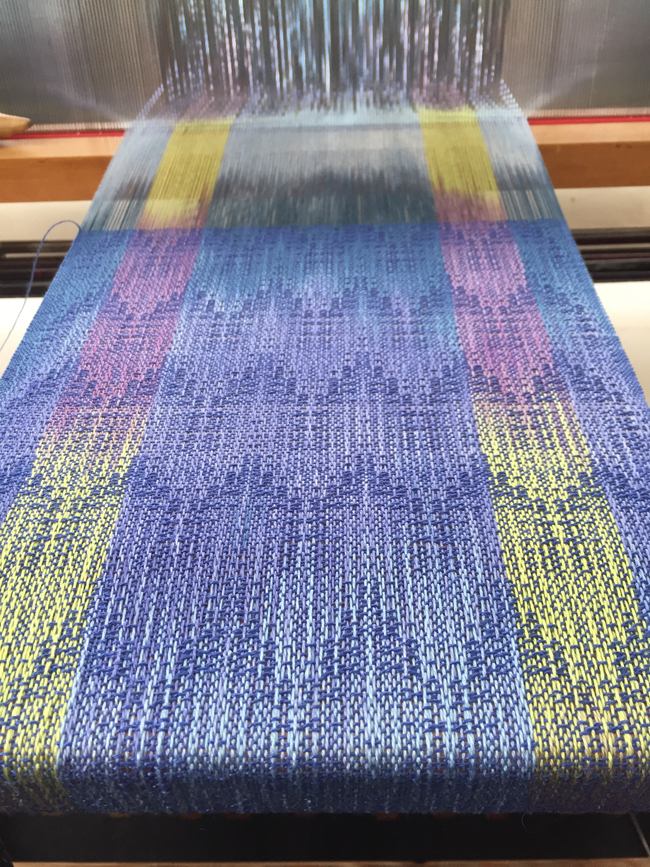 HP Tencel scarf on loom from an angle