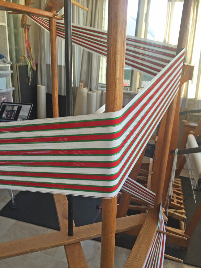 winding warp for candy cane cards