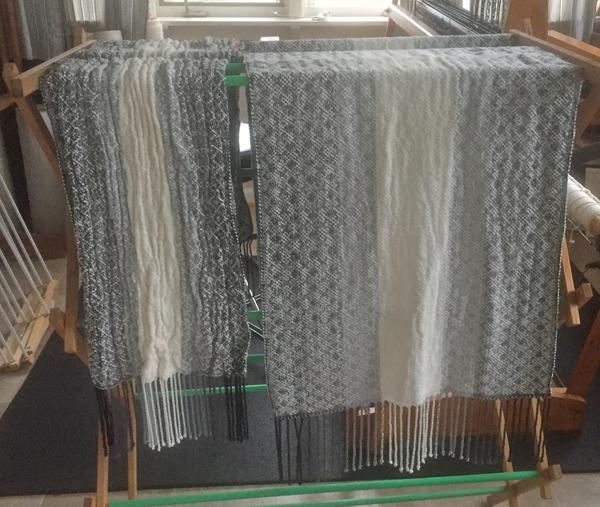2 black to white shawls