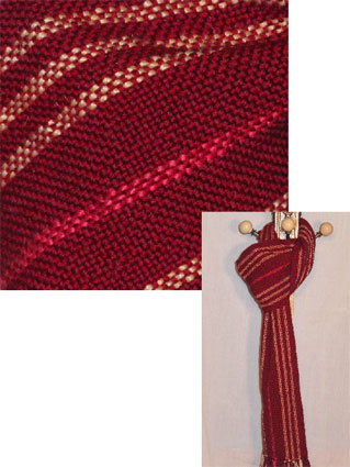 Burgundy Stripes wool handwoven scarf