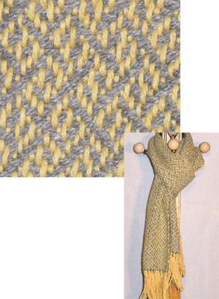 Gold & Gray wool & acrylic handwoven scarf